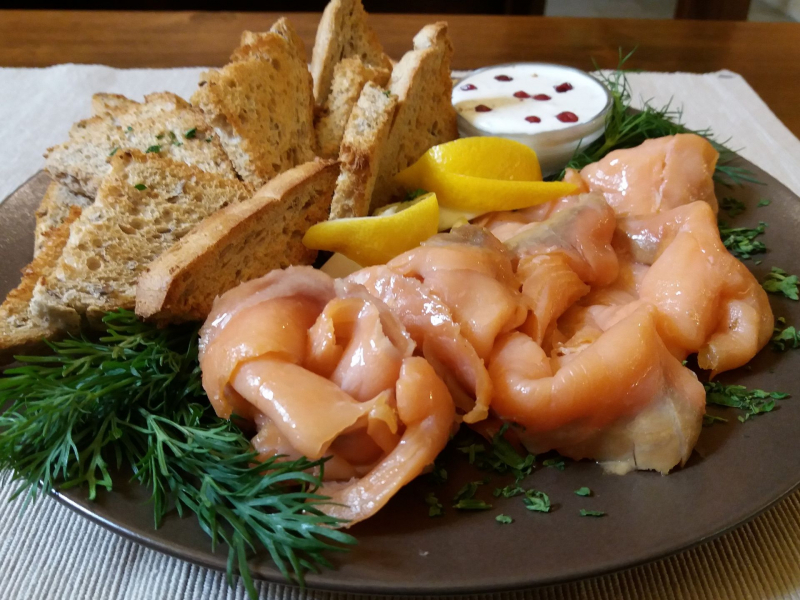a plate with smoked salmon