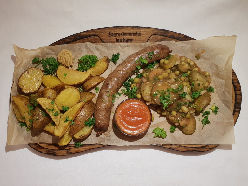 Homemade Chicken sausage with two side dishes