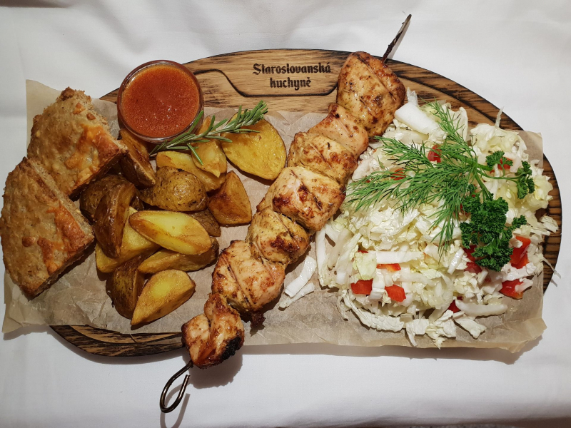 Chicken shashlik with side dishes